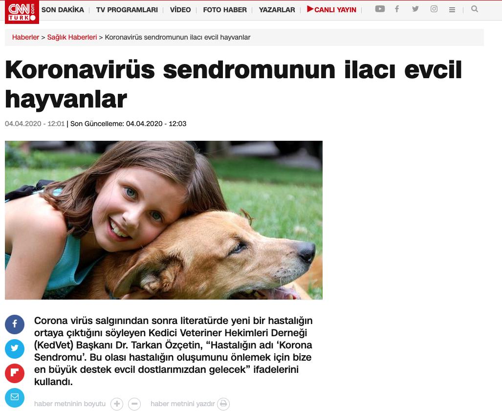 Koronavirüs sendromunun ilacı evcil hayvanlar
